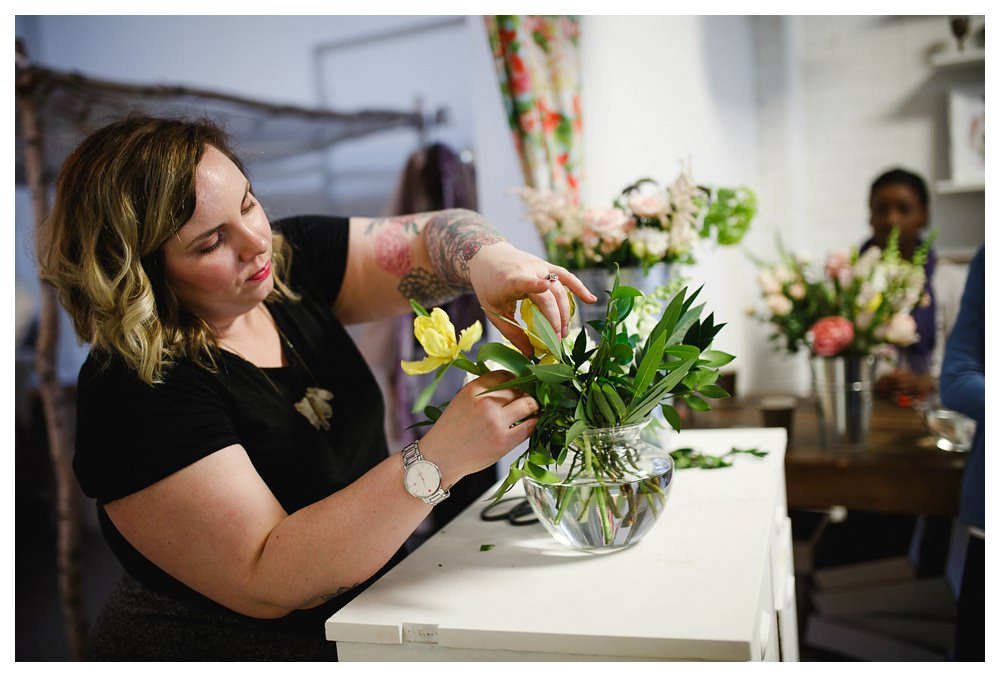 Becky arranging flowers at Blush and Bloom workshop in Toronto.