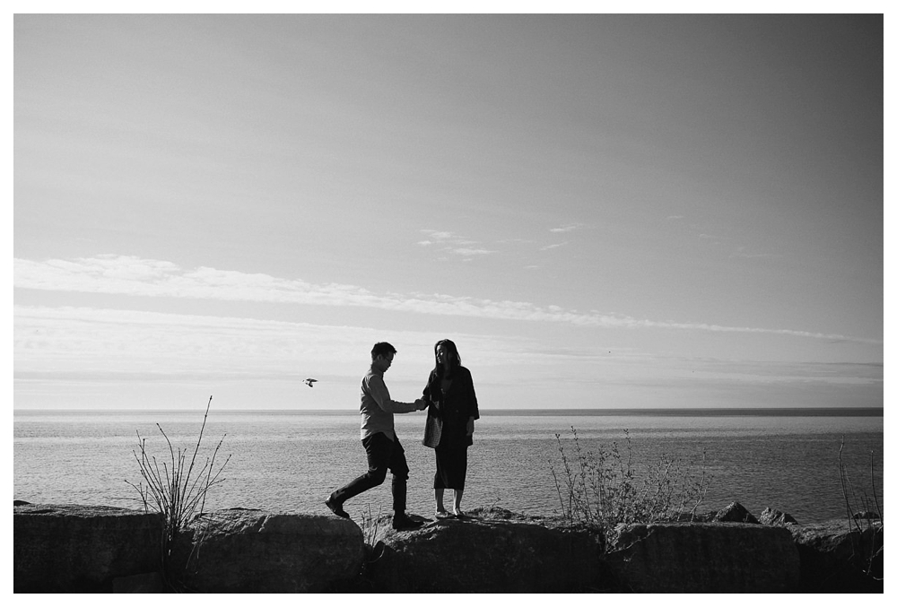 A bird flies over the lake Ontario on this special engagement photos day at Scarborough Bluffs as the bride gives her hand in love.