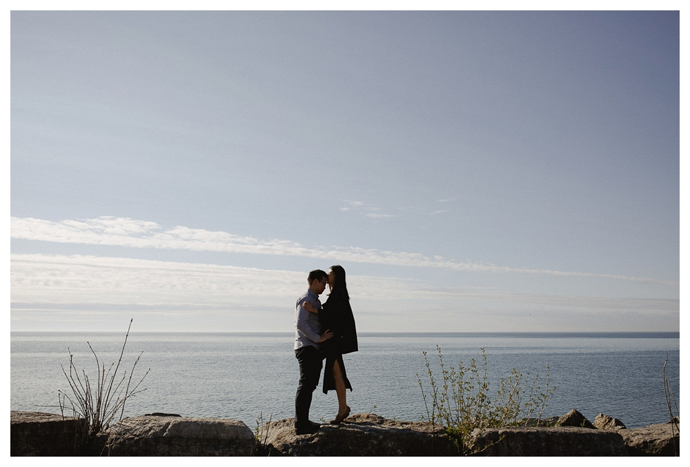 Love will take you higher, under the bright sunny spring sky of the engagement photos in Toronto