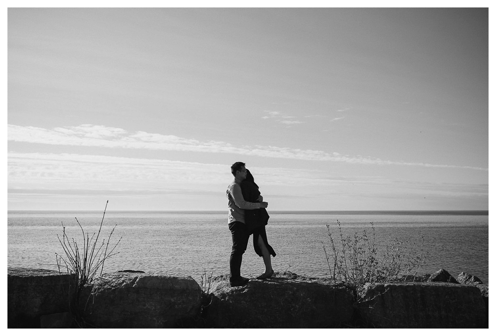 A black and white capture of love by Scarborough Bluffs for a special engagement day.