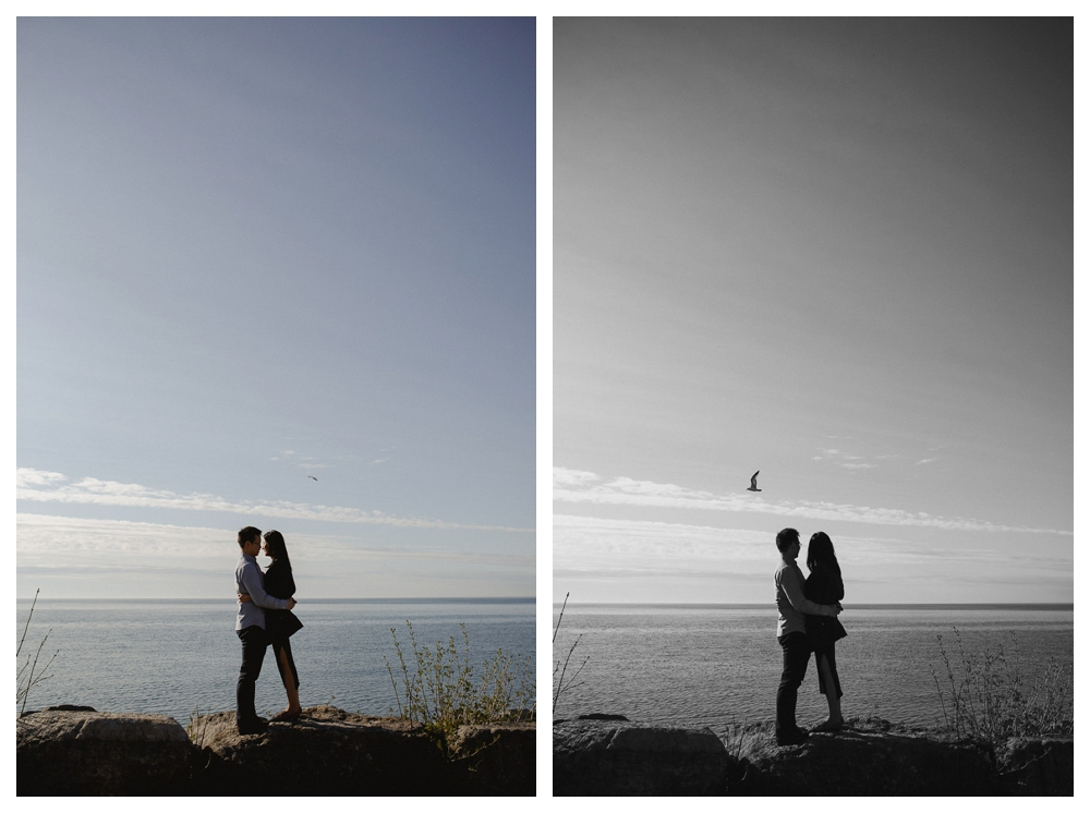 The embrace of the engagement photos is the sweetest expression of love that even the birds come to see what is going on by the shores of lake Ontario.