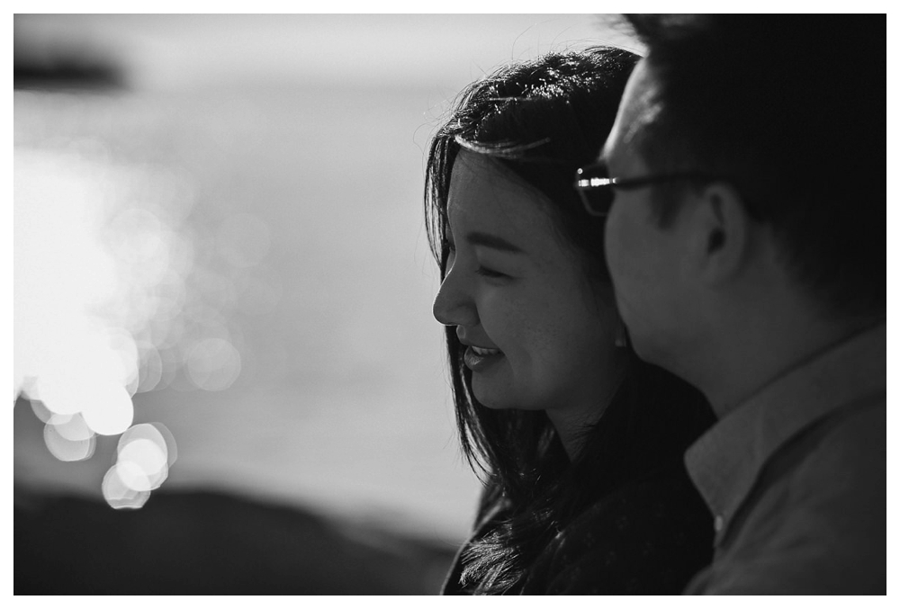 A smile captured through  black and white engagement photo will be one to remember.