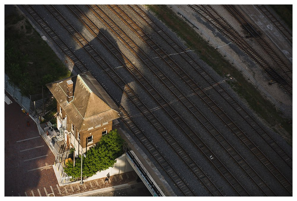 Train tracks lead to a path of love downtown Toronto.