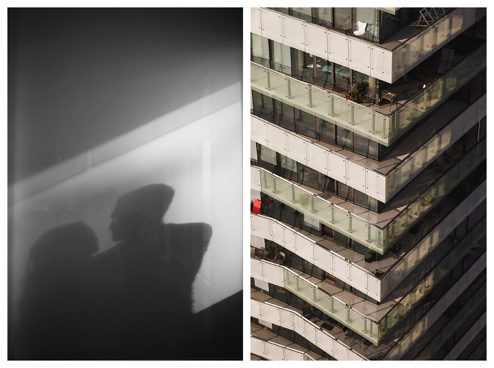 Shadows of love reflected in the buildings of city of Toronto.