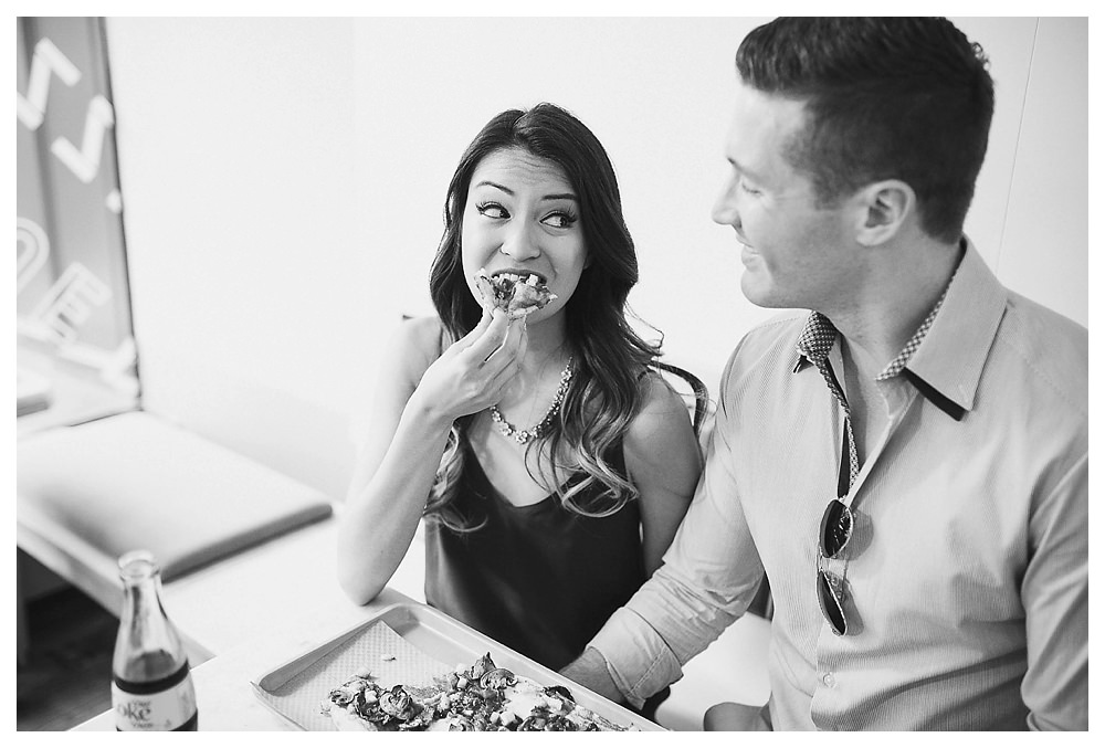 True True Pizza in the Distillery District provides delicious pizza for the perfect date and engagement photos.