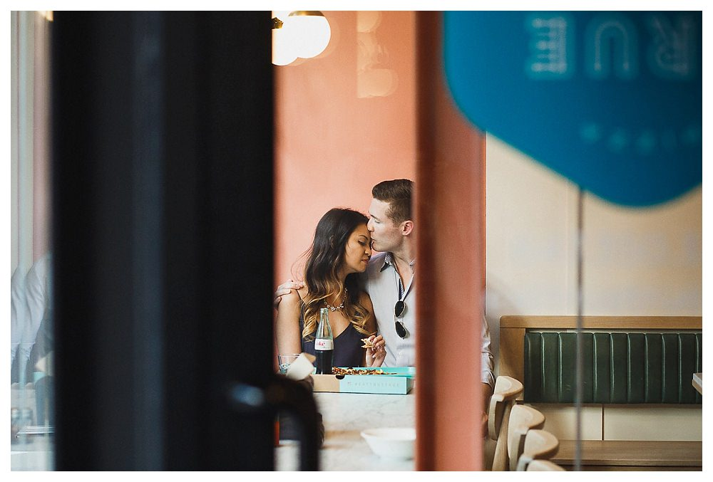 A candid moment between the bride and the groom for their engagement photos in Toronto.