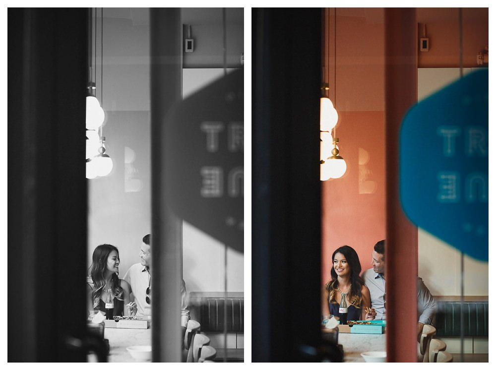 For the engagement photos in Toronto the bride and groom remember their first date downtown.