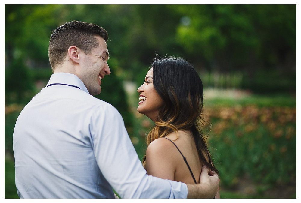 Laughing together is the key to a successful marriage, beginning today at the engagement photo shoot in Toronto.