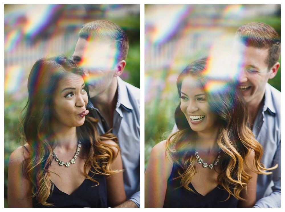 Sun streaks, silly faces and laughter fill this engagement photo shoot day in Toronto.