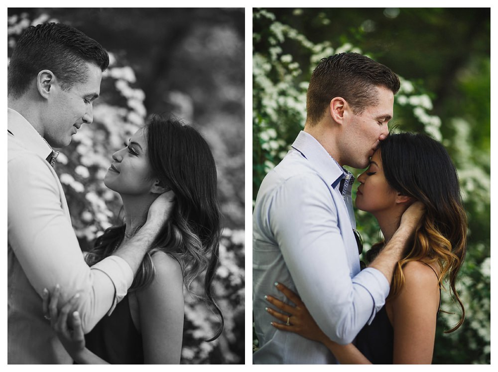 Their love is captured in colour and black and white like the flowers that act as a beautiful backdrop for their engagement photos.