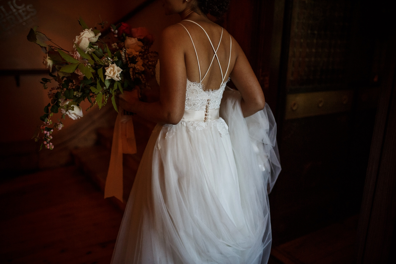 White Oak Flower Co flowers at Gladstone Hotel wedding in Toronto.