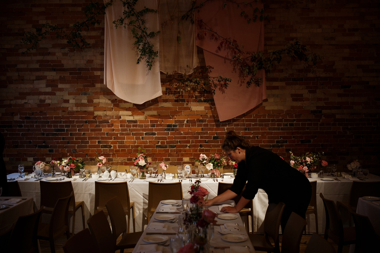 Reception tables at Gladstone Hotel wedding in Toronto.