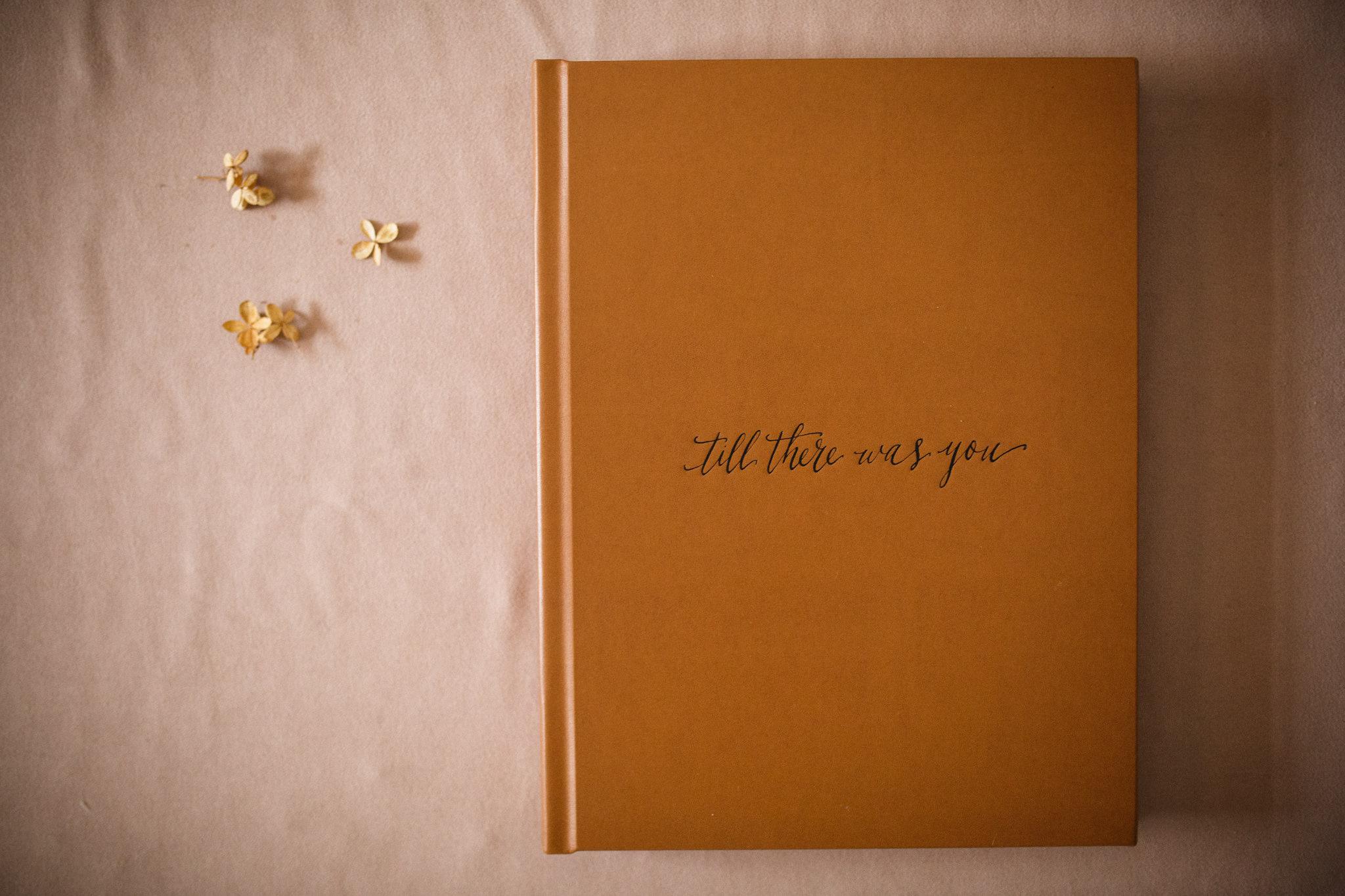 Leather cover of wedding album in Toronto.