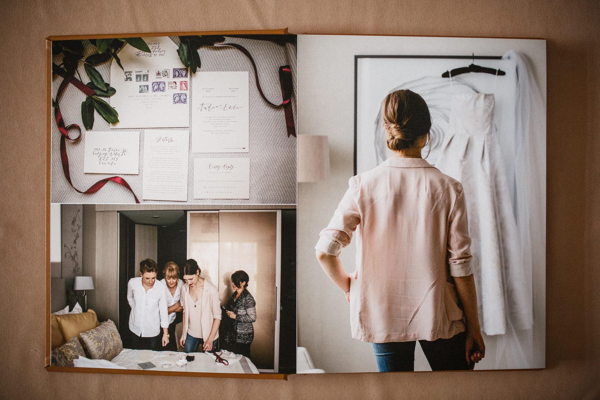 Wedding photo album of a wedding at The Four Seasons in Toronto.