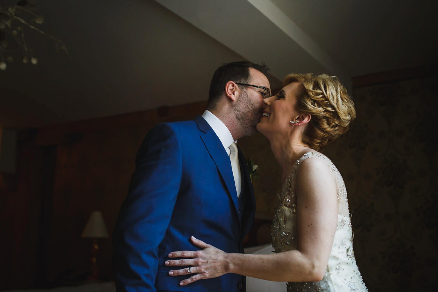 First kiss at George Restaurant wedding in Toronto.
