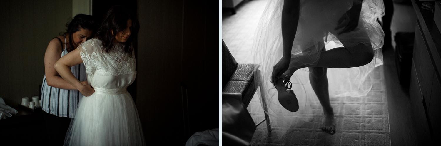 Putting shoes on for wedding at Planta.