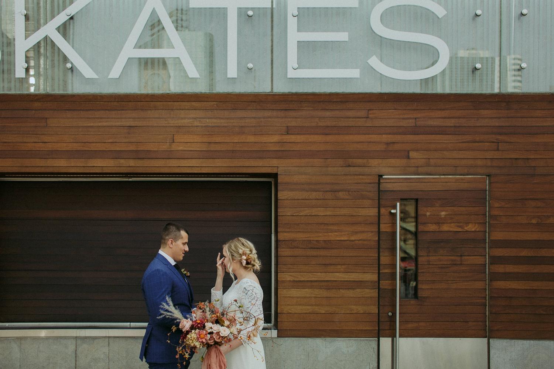 First kiss at City Hall Toronto elopement.