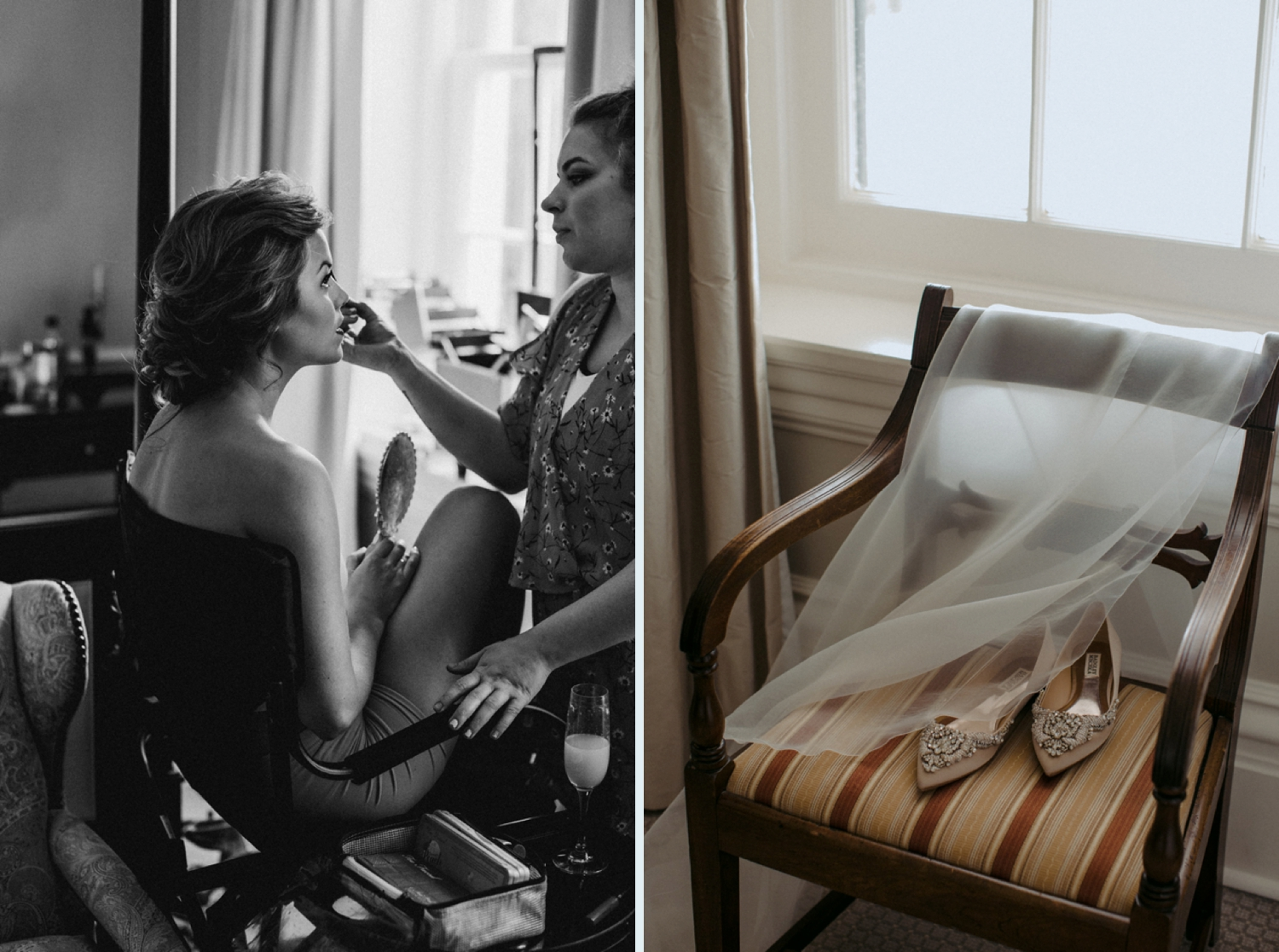 Bride getting ready at Langdon Hall for wedding.