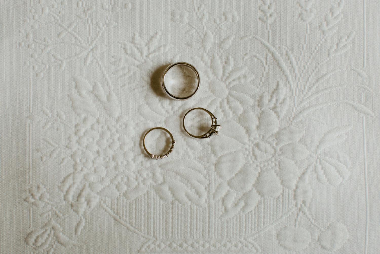 Wedding rings at Langdon Hall.