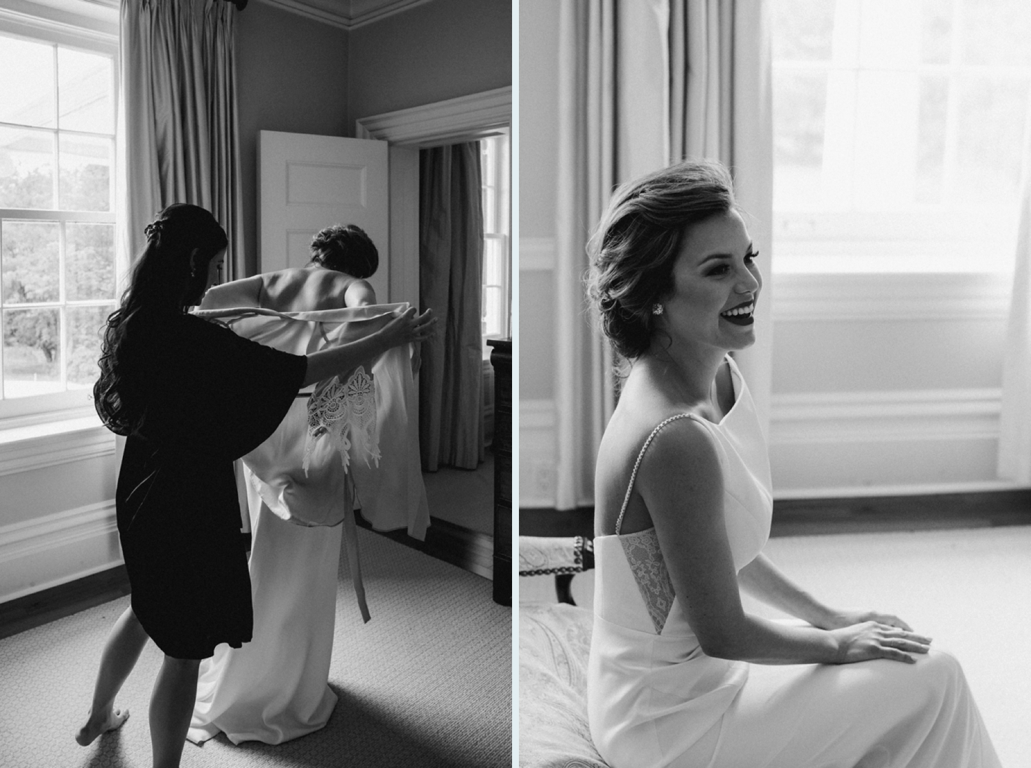 Bride getting dressed in Catherine Langlois dress at Langdon Hall wedding.