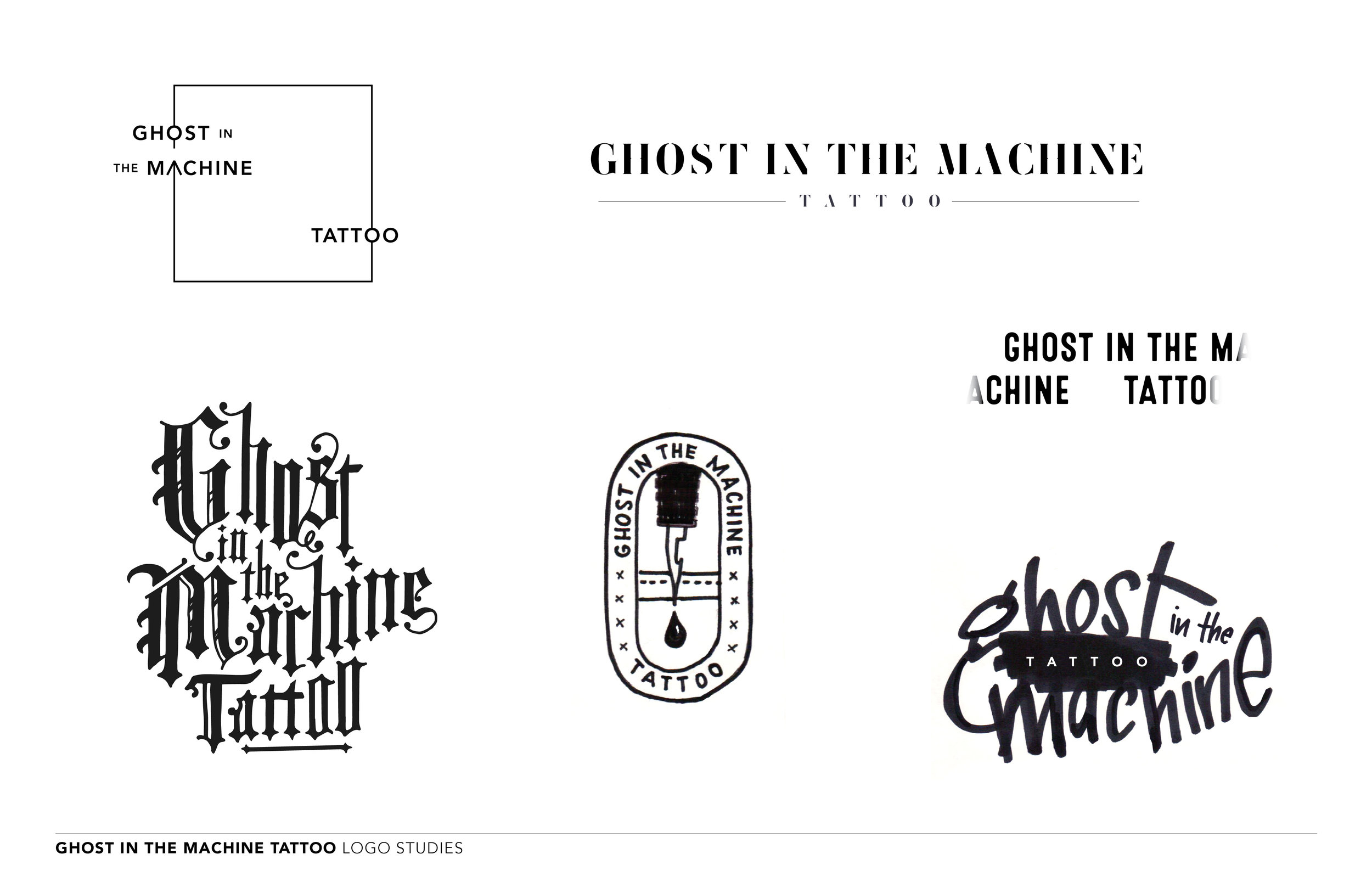 Logo Studies for Ghost in the Machine Tattoo