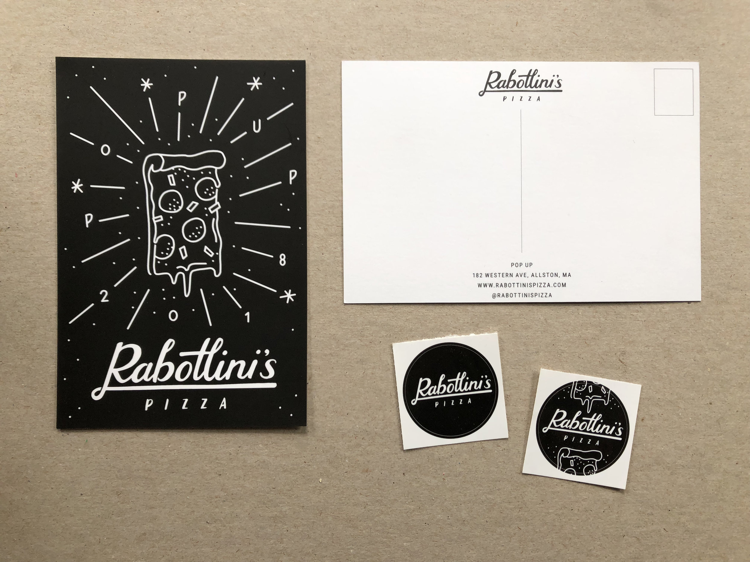 Postcard and Stickers for Rabottini's Pizza