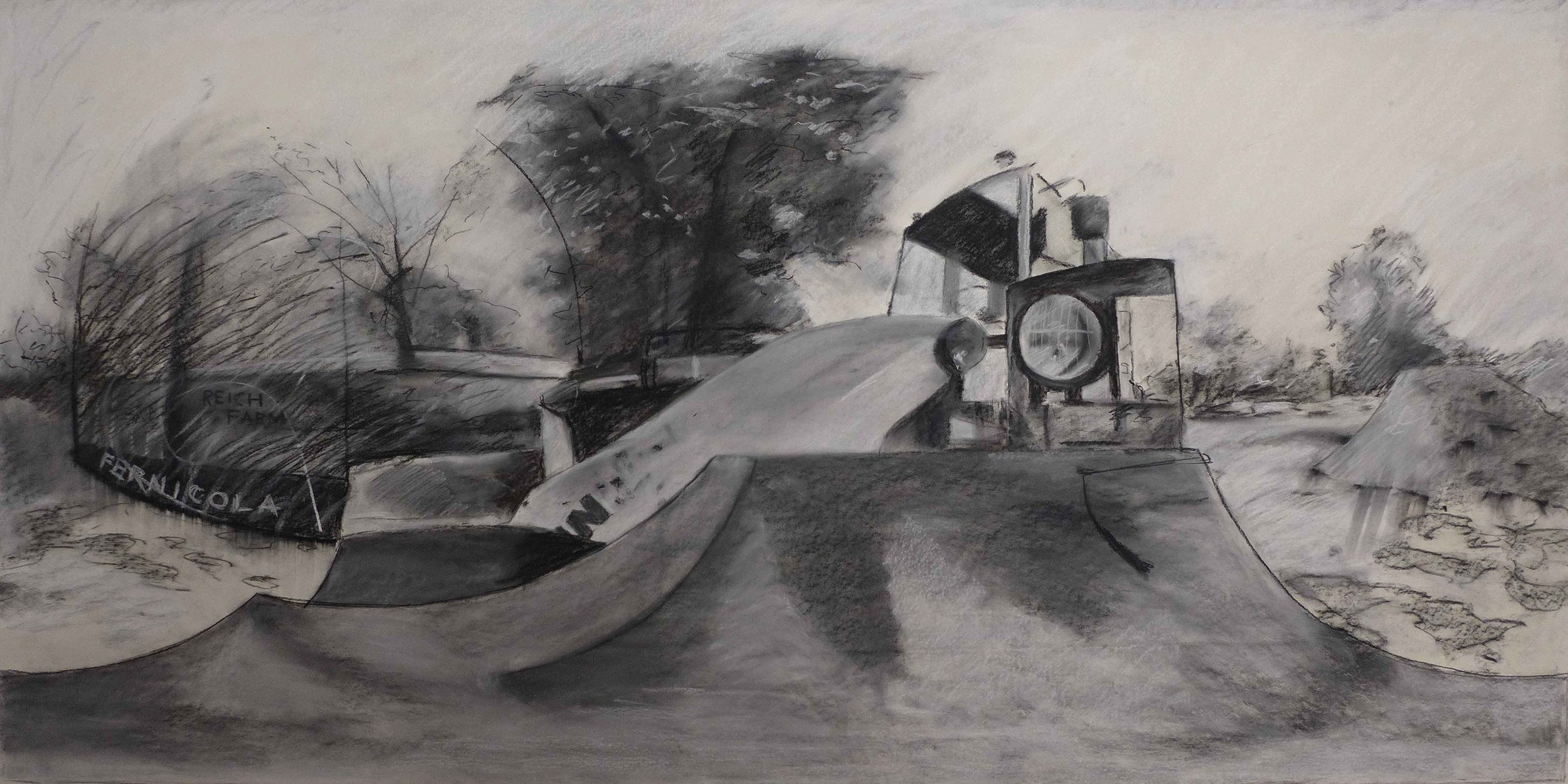 "Reich Farm 60"" x 30"" 2016 Conte on Paper"
