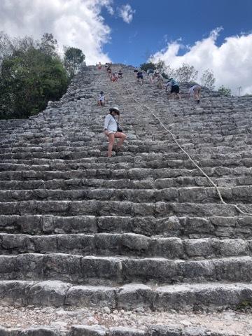 Climbing ancient Mayan Ruins