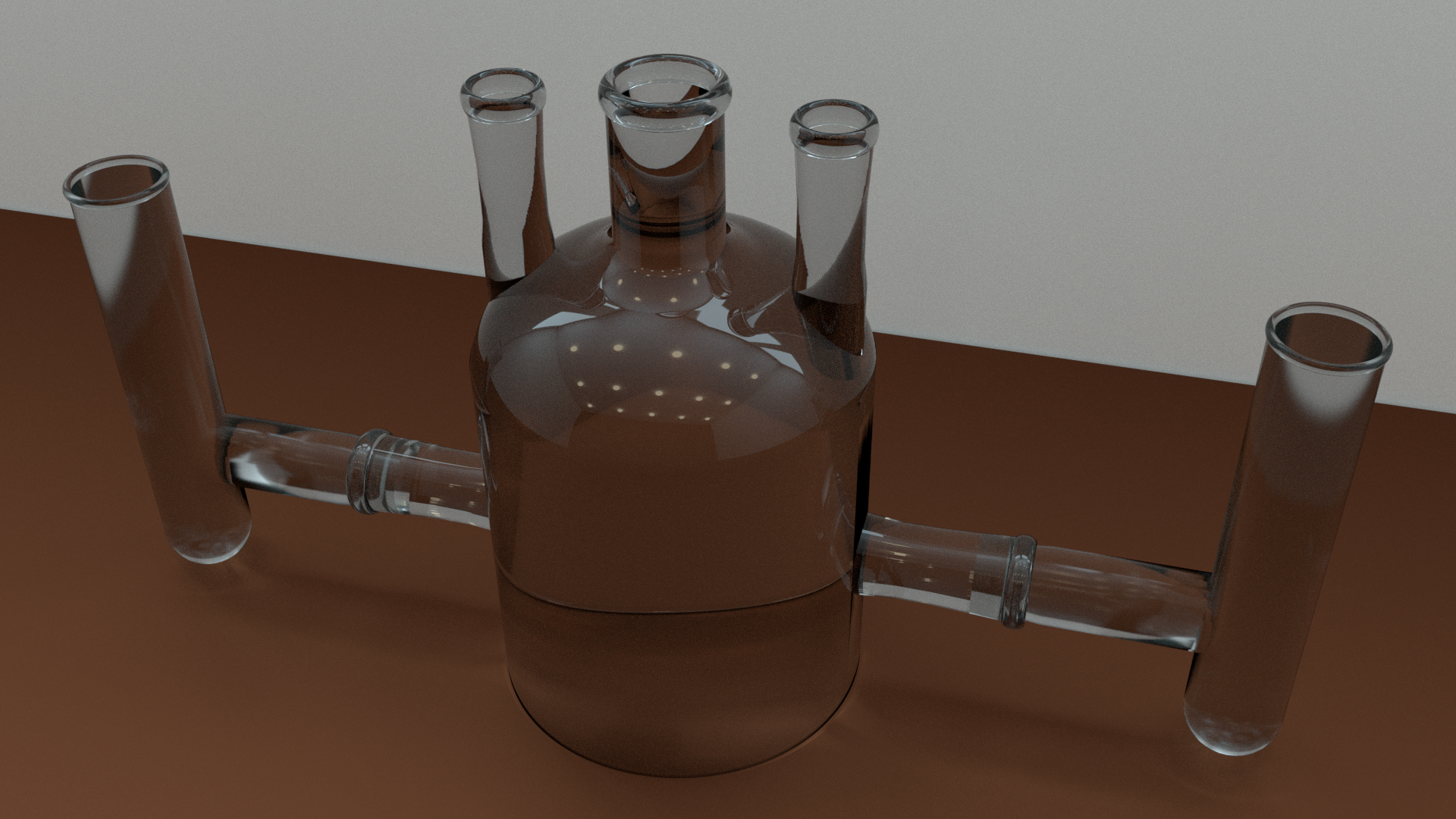 Rendered 3D model of a piece of electrochemical glassware (Blender)