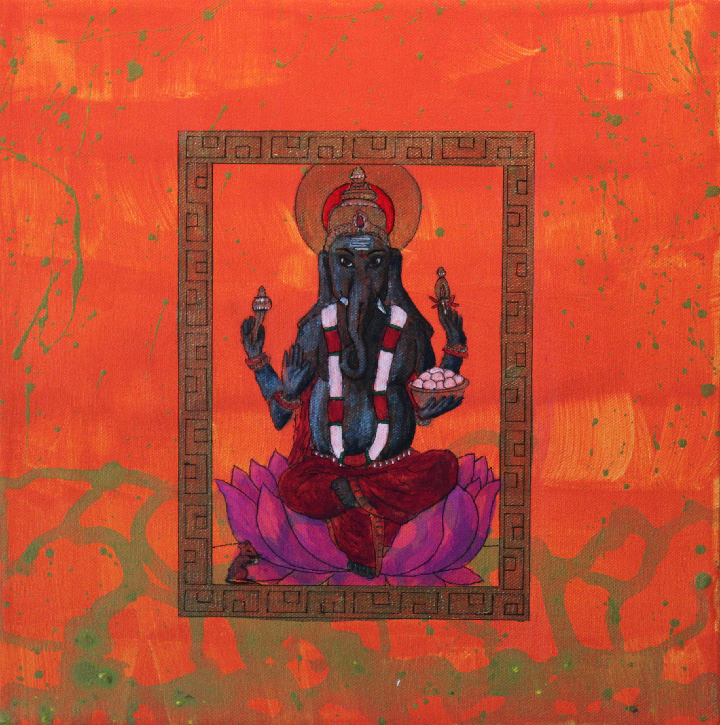 Ganesh - the Remover of Obstacles (always helpful to have on your side).Acrylic on canvas 12x12