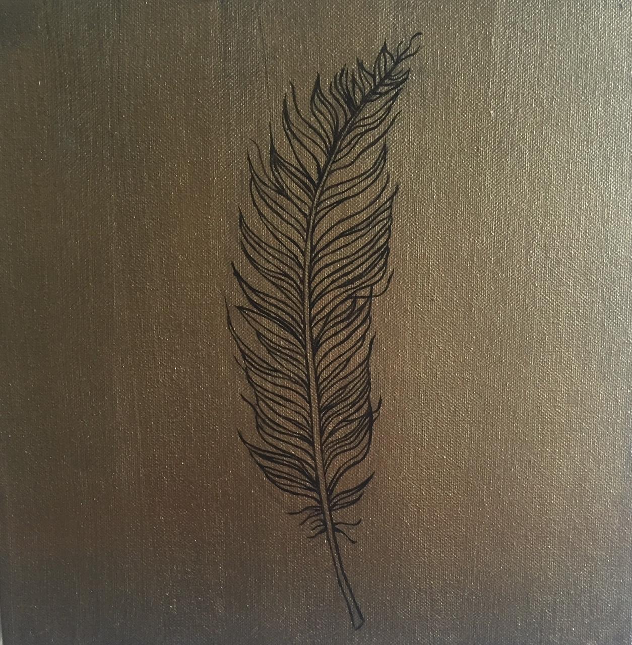 Feather #2, acrylic on canvas 12x12