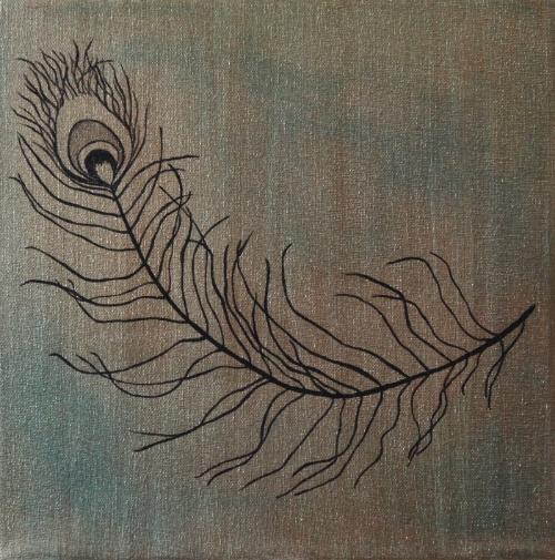 Feather #1 acrylic on canvas 12x12
