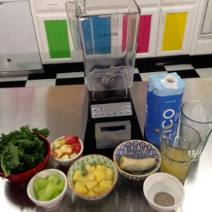 As you can see we have kale (some people like boil kale so it is easier to digest), and celery (for its fiber), pineapple (strong flavor), apples (sweetness), bananas (frozen bananas make the smoothie creamier), coconut water, pineapple juice, ice, and chia seeds (our choice of protein boost).