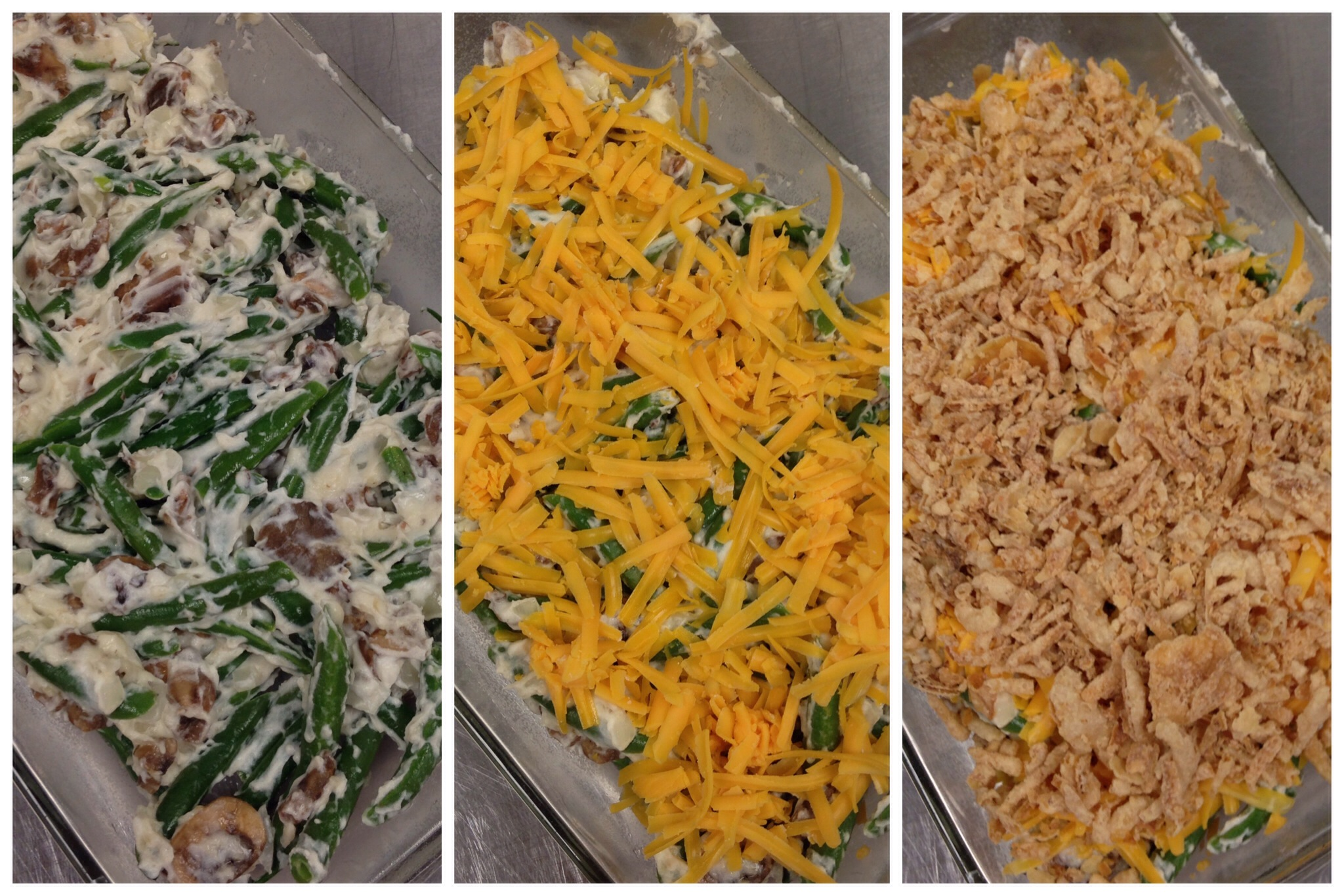 Layering Green Bean casserole