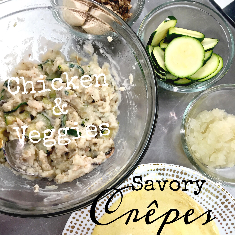 Delicious Savory Crepe Filling. Chicken & Veggies- ChefShayna.com