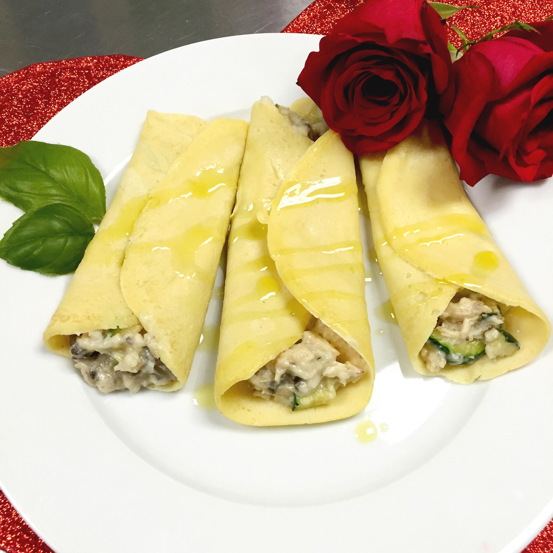 Chicken & Veggie Savory Crepes to make at home. ChefShayna.com