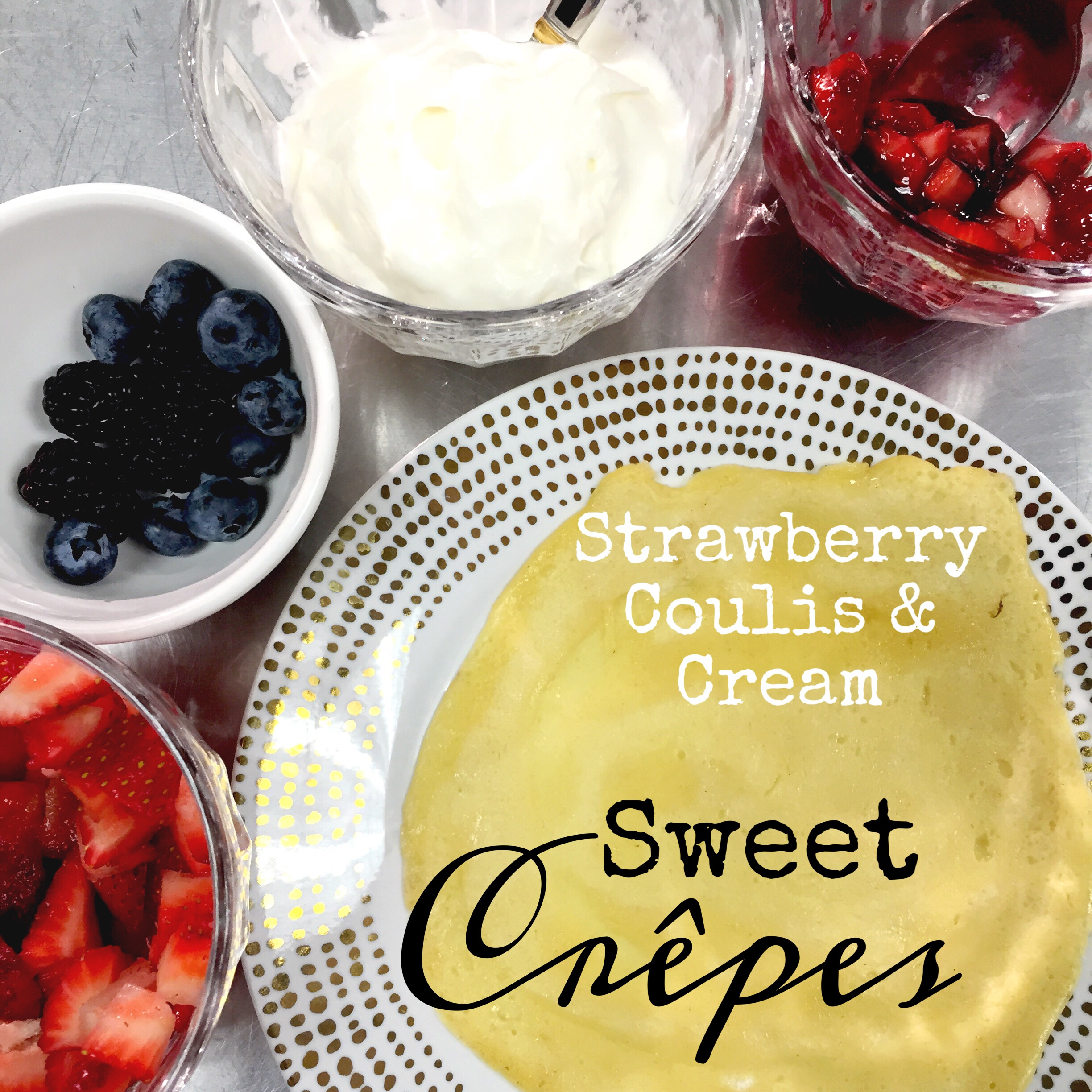 Strawberry Coulis & Cream Crepe Filling. ChefShayna.com