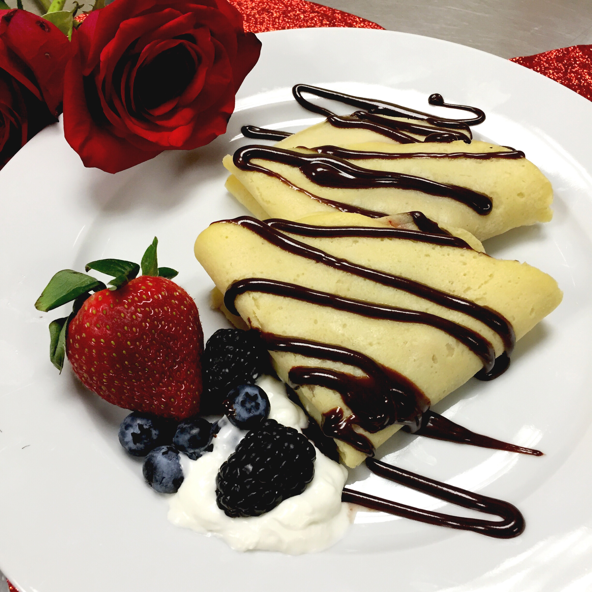 Strawberry Coulis & Homemade Whipped Cream Crepes for Valentine's Day- ChefShayna.com