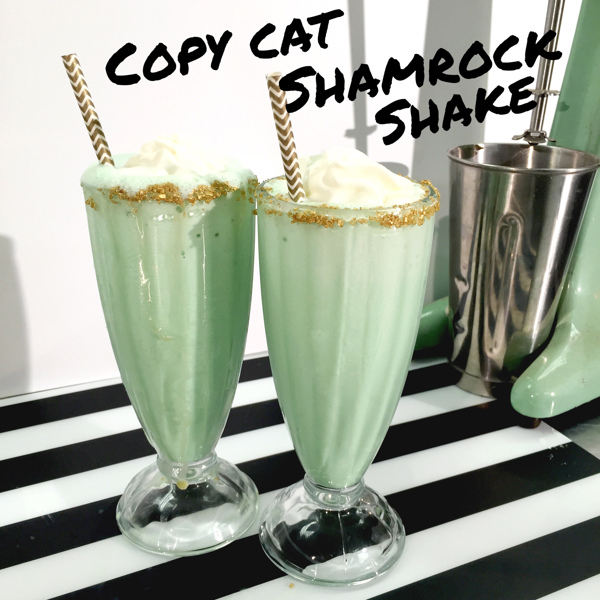 Copy Cat Shamrock Shake recipe to recreate at home for St. Patrick's Day. www.ChefShayna.com