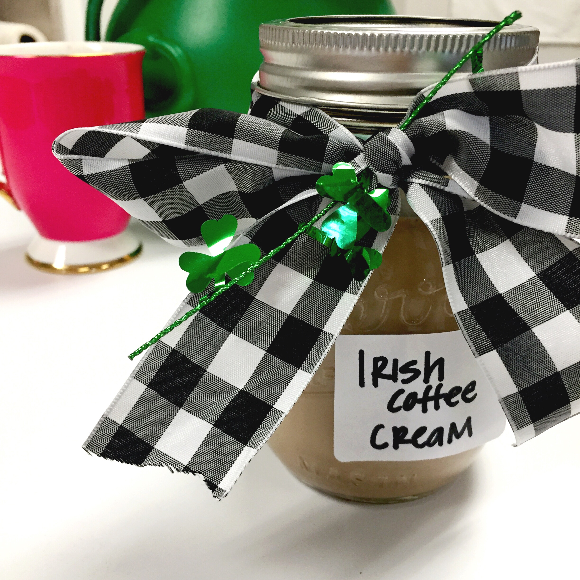 Luck of the Irish Coffee Creamer. Makes a great St. Patrick's Day gift for a friend or co-worker. recipe & tutorial on www.ChefShayna.com