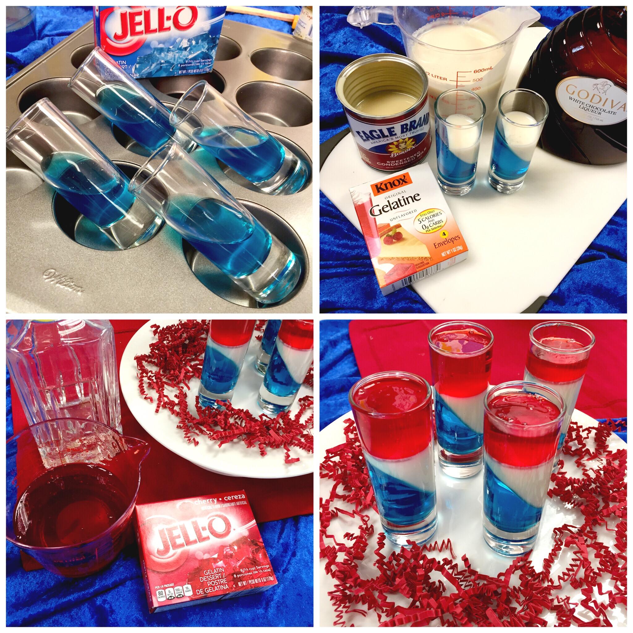 Make Patriotic JELL-O shots. Recipe on www.ChefShayna.com