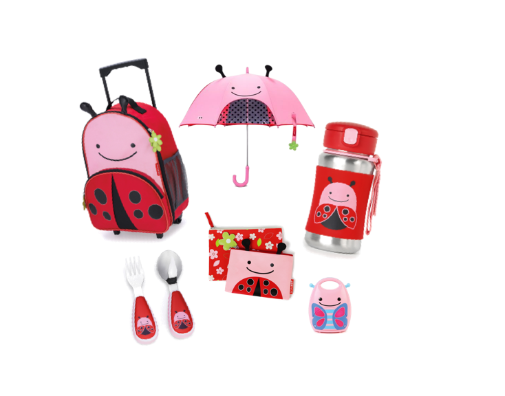 Skip Hop Roller Bag, Umbrella, reusable bags, fork & spoon Set, Water Bottle and travel night light