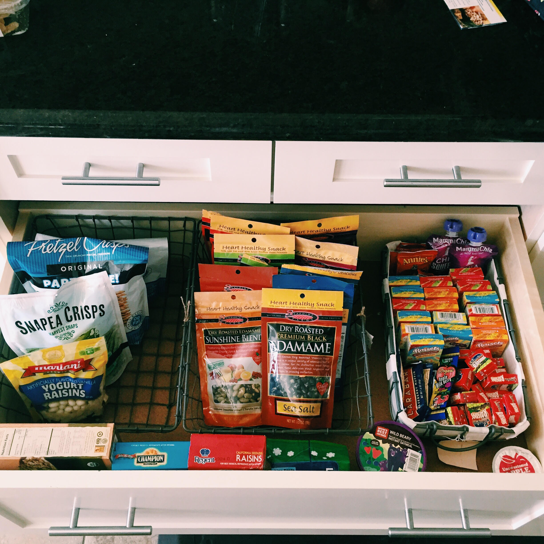 Snack Drawer organization. Easy to take snack favorites like Lara Bars, Raisins, Edamame, etc.