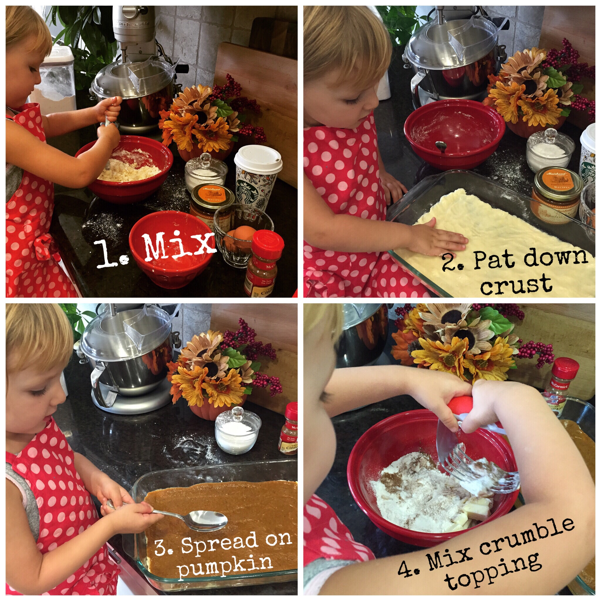 Baking with kids this Fall. Making William's Sonoma Pumpkin Bars- www.chefShayna.com