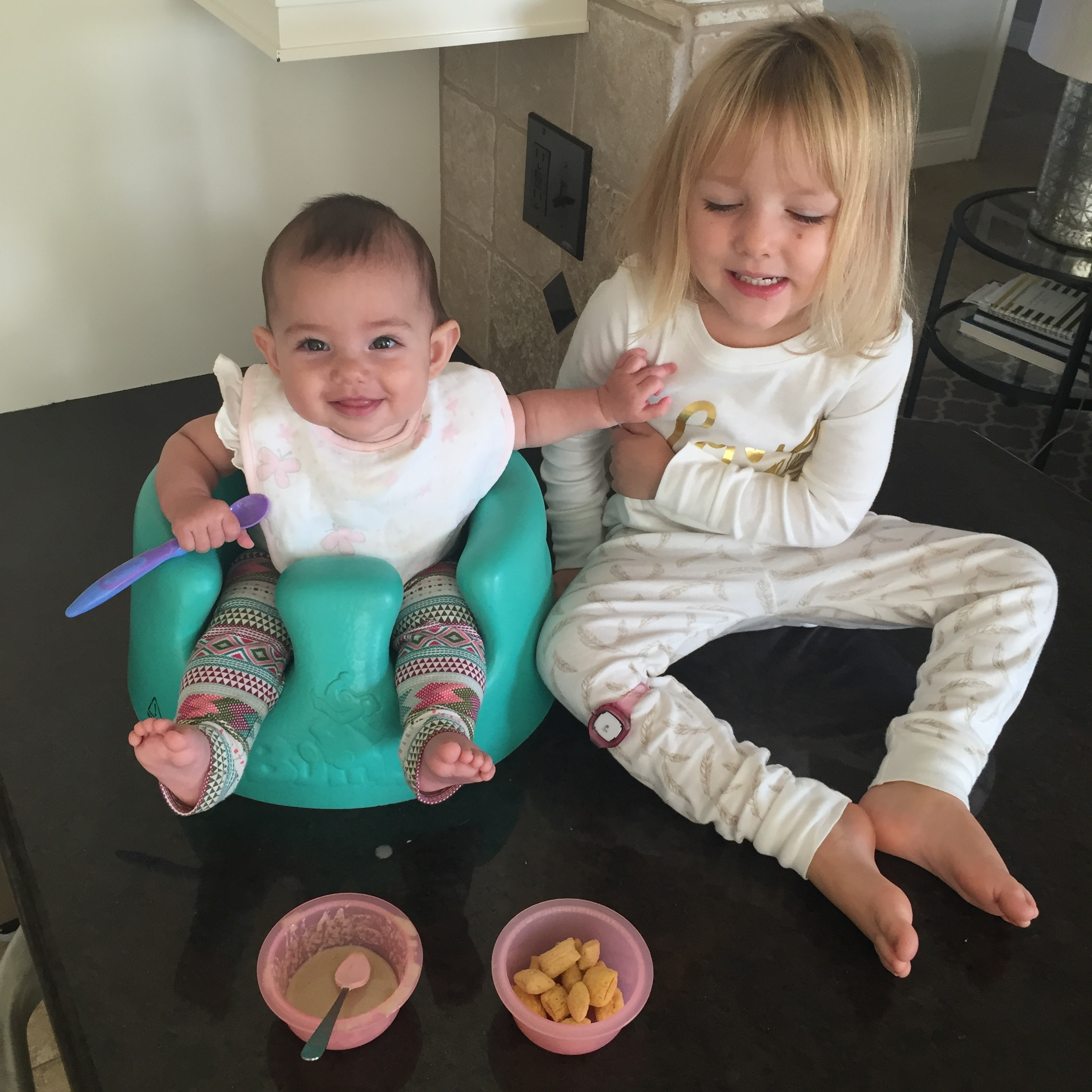 The girls hung out on the counter, read books, sang songs and enjoyed a snack