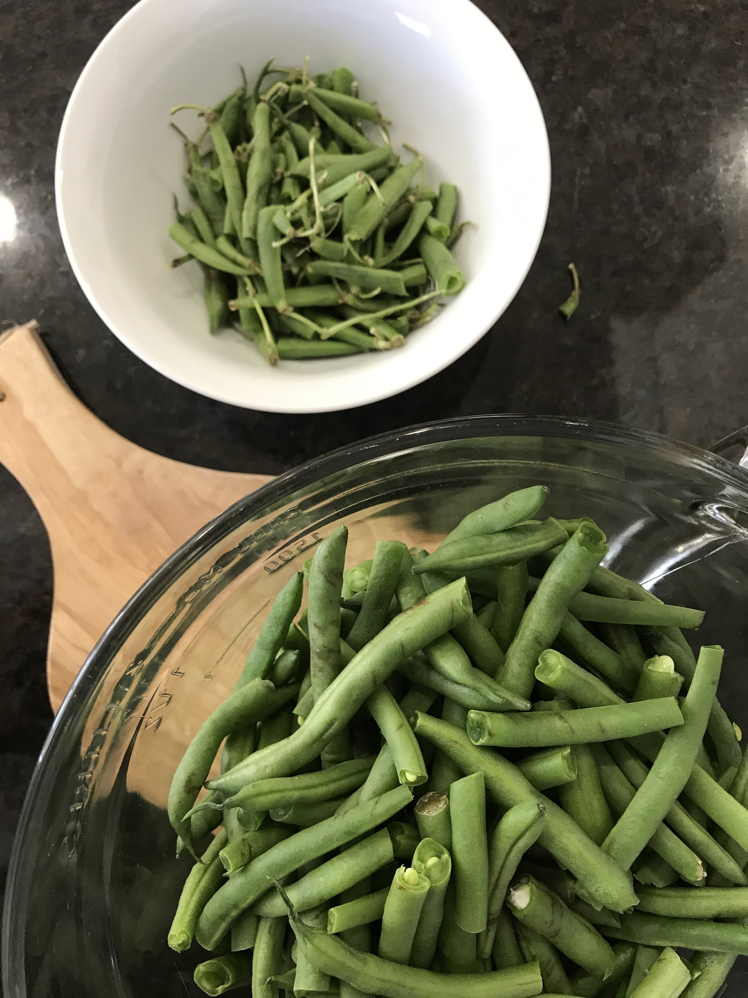 Kids in the kitchen. Green beans are a great veggie to let them help prepare. www.ChefShayna.com