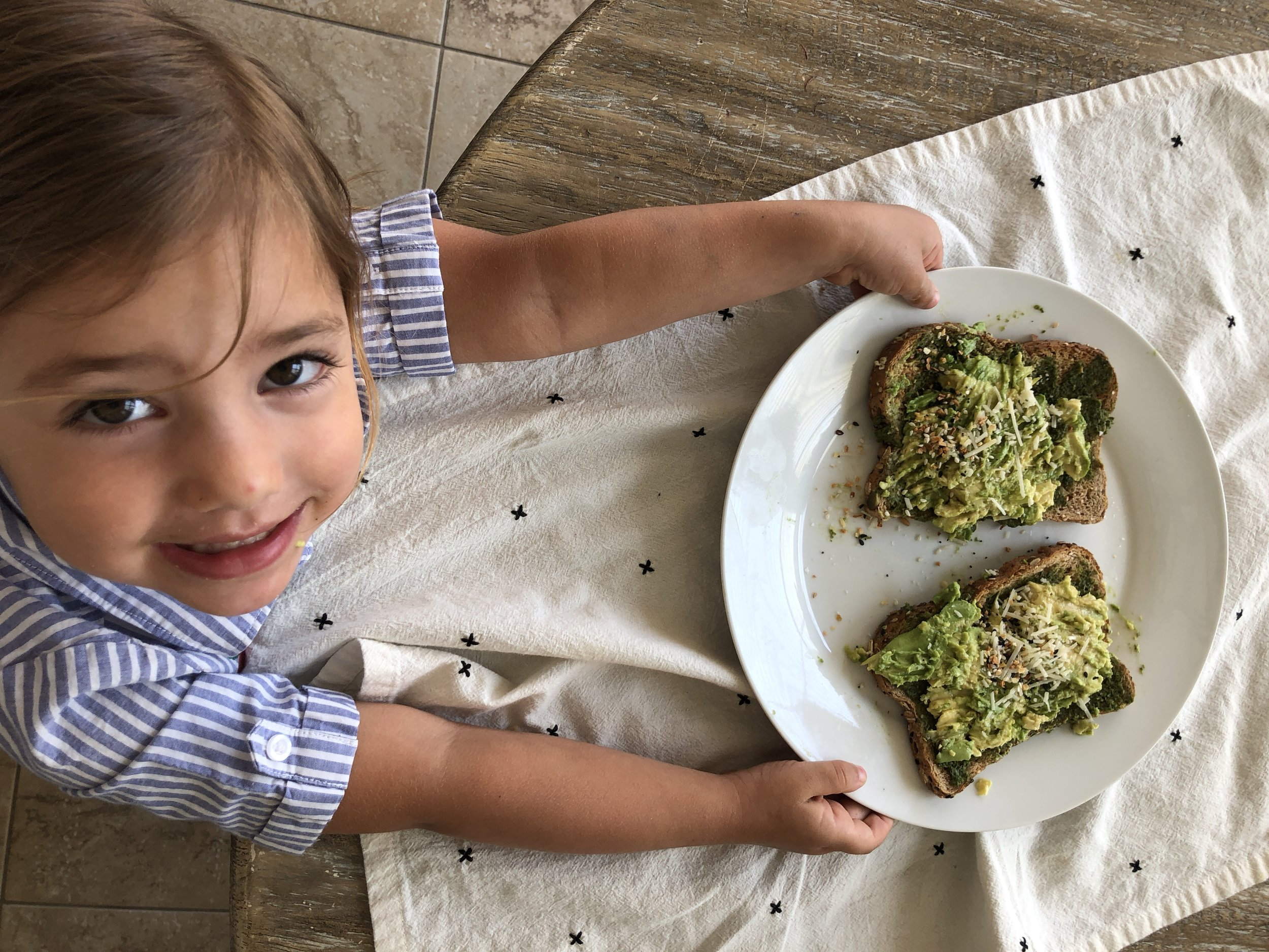 Kids can cook! Toddler made Avocado Toast. See the video www.ChefShayna.com