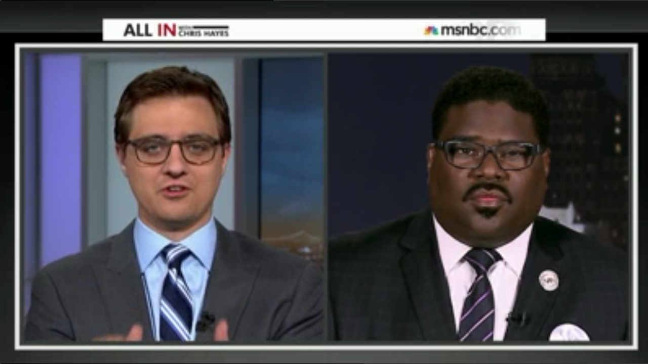Rev. Charles E. Williams II, interviews on MSNBC's All in with Chris Hayes, discussing Detroit Water Crisis  Photo Credit: Joe Jones