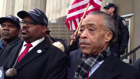 Rev. Al Sharpton and Rev. Charles Williams II, at a press conference in Detroit Michigan. Photo Credit: Joe Jones
