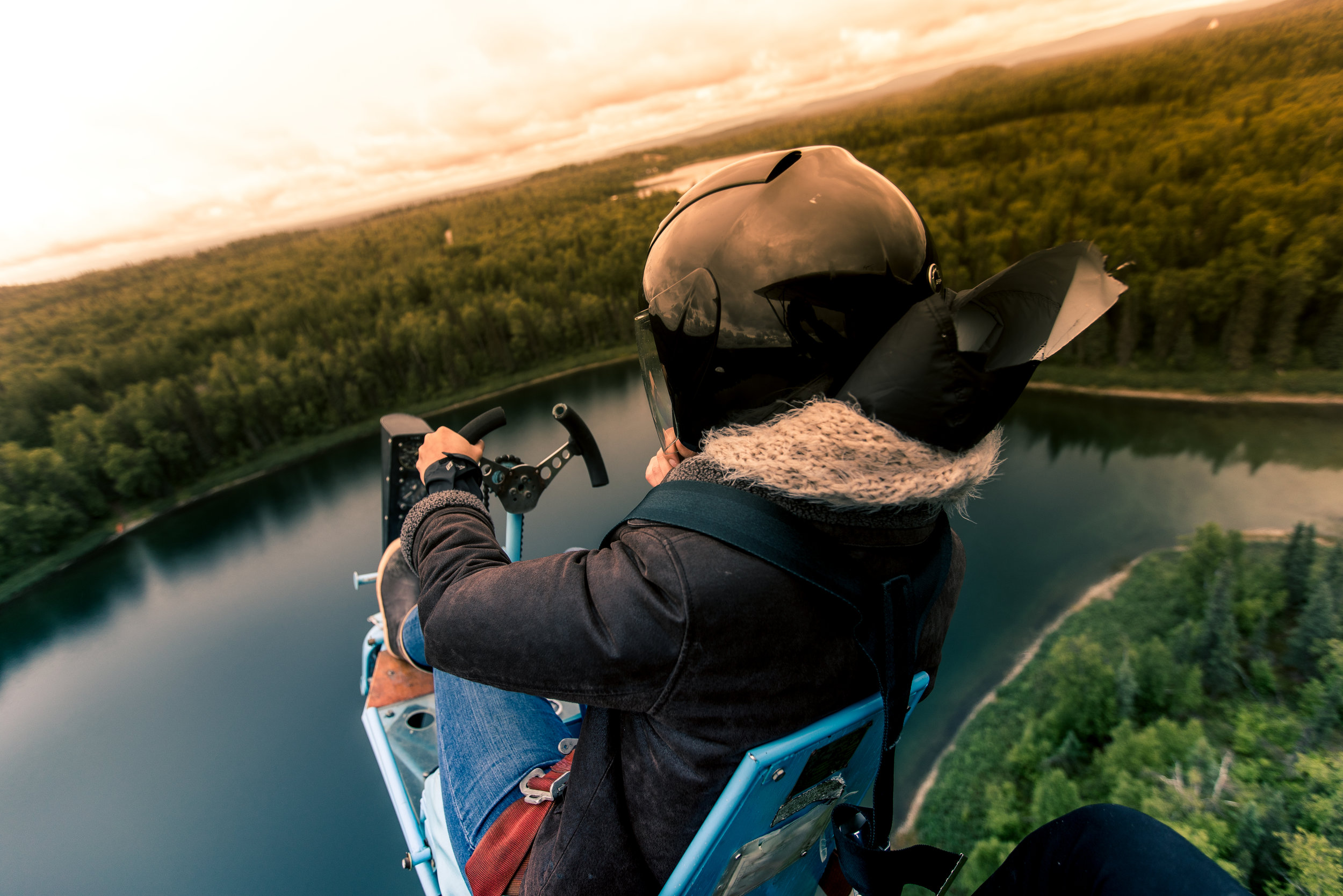Brooke Roman, Alaskan Bush Pilot on the Breezy, an open cockpit home-made plane.